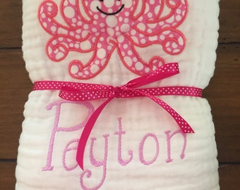 Baby girl towel, muslin baby towel, personalized baby towel, custom baby towel, toddler towel, beach towel, baby gift, baby shower gift