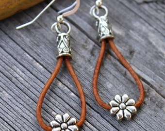 Cowgirl Daisy Leather Earrings