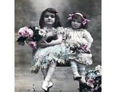 Little Girls Card - Sisters with Flowers - Repro Hand Colored PC Vintage Style