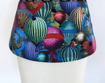 Apron-Hot Air Balloons-Colorful Jewel Toned Pocket-Steampunk-Victorian-Folk Art-Reversible-2 Aprons in One!! Vintage Inspired-Cotton Fabric