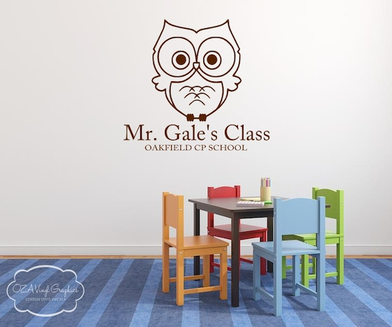 Male Classroom Decor ~ Teacher classroom owl vinyl wall decal by