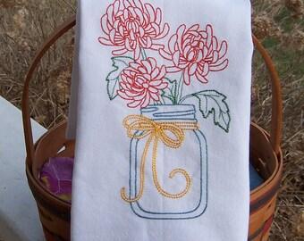 Embroidered Tea Towel/ Kitchen Dish Towel Crysanthymum in Mason Jar