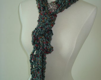 Funky Handmade Crochet Scarf Grey with Red, Hot Pink and Brown dots