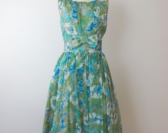 1960s Green Floral Party Dress