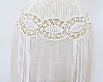 1900s Starry Skies Skirt | Antique White Cotton Skirt