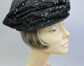 1915 Edwardian Toque Hat Black Sequin