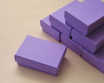 Grape Purple Cotton Filled Jewelry Boxes High Quality 2 1/2 x 1 3/4 x 15/16 inches - 10 Small