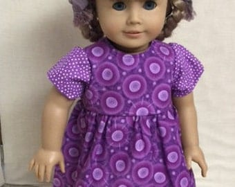 "Purple Doll Dress fits 18:"" American Girl Doll"