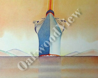 Folon Musee de L'Affiche Art Deco Poster Print, Cruise Ship Ocean Liner, 1978 Abstract Modern Surreal Art Color Print, FREE SHIPPING