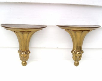 Vintage Brass Shelves | Brass Sconces | Floating Wall Shelves | Brass Bookends | Gold Wall Hanging | Metal Display