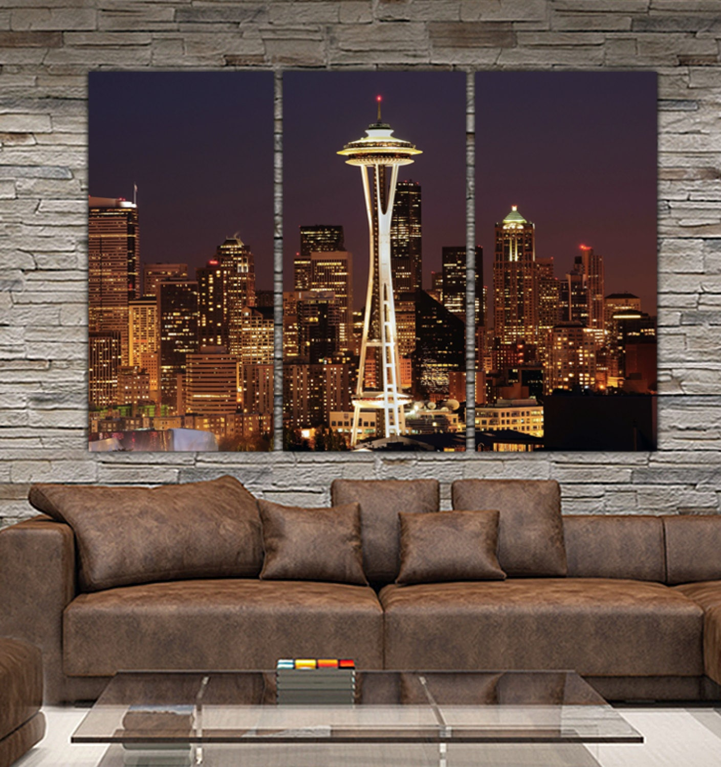 Seattle Wall Art seattle skyline canvas set large wall art of seattle photo