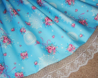 Lovely Blue Floral Rose Bouquets, Ribbons, Lace Doilies, and Twinkle Stars Sweet Lolita Skirt - ANY SIZE