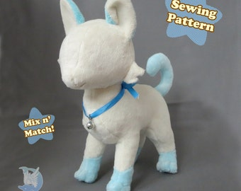 Cat Plush Sewing Pattern Feline Plushie Pattern PDF Download | Cat Plushie Toy Tutorial Standing Cat Instant Download