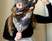 Cowl  Bulky Chunky Super Soft Blue Grey Brown Earth Tones Hand knit from Natural Handspun Yarn Wool