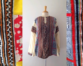 vintage  embroidered and patchwork long sleeve cotton tunic style  blouse, size large