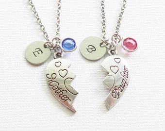 Mother And Daughter Necklaces,Heart Necklaces,Two Necklaces,Mom Jewelry,Swarovski Birthstone,Silver Initial,Personalized,Monogram, Stamped