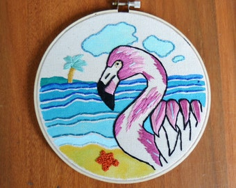 Pink Flamingo Paradise Embroidered Wall Hanging Hoop