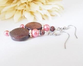 Wood Earrings, Mothers Day Gift from Son, Boho Earrings Pink Earrings Dangle, Bohemian Jewelry Wedding Earring Sterling Silver Inspirational