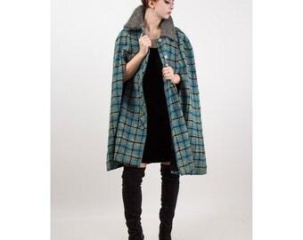 Vintage cape / 1970s Pendleton wool plaid short winter cape S M L