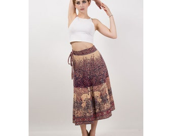 Indian cotton block printed wrap skirt / 70s Vintage mama and baby deer skirt XS-L