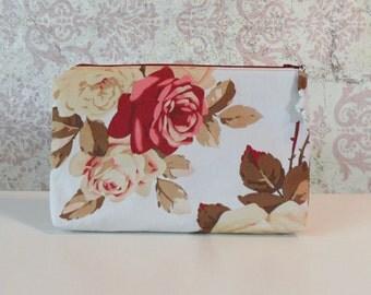 Retro Floral Zipper Pouch // Sateen Cotton Organizer Pouch