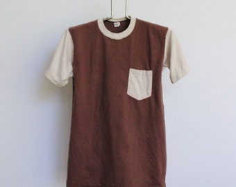 Vintage Towncraft Pocket TShirt Tee JC Penney // Two Tone Pocket Tee Brown Tan Made in the USA