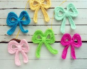 Bow Crochet Applique Pattern tutorial PDF ebook how to DIY - easy crochet bow applique pattern - Instant DOWNLOAD