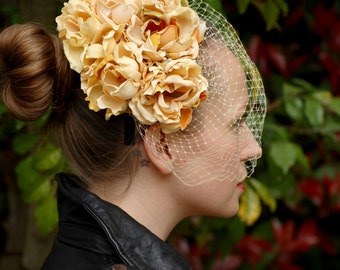 Yellow Tea Roses Fascinator with veil