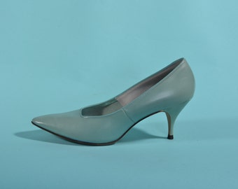 Vintage 1960s Teal Stiletto Shoes - Blue Leather High Heels - Bridal Fashions Size 6