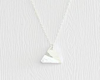 Origami paper plane necklace, Silver