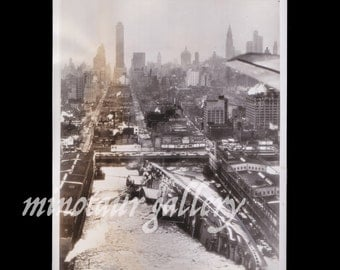 Very Impressive Photo of Capsized Ship in Hudson River Framed by Skyscrapers / 1940s / Aerial