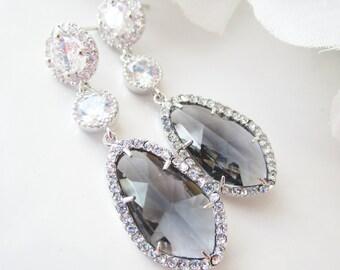Teardrop Earrings, Charcoal Earrings, Cubic Zirconia Earrings,Silver Earrings,Bridesmaid Earrings,Bridal Earrings,Dark Grey, Slate,Post Stud