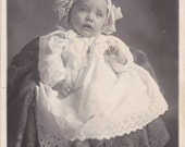 Baby Ollie- 1900s Antique Postcard- Edwardian Infant- Baby Picture- Real Photo Postcard- RPPC- Found Photo- Paper Ephemera