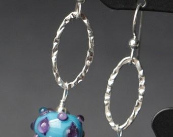 Turquoise with Raised Purple Dots Lampworking Beaded Glass Sterling Silver Earrings