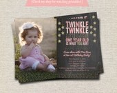 Twinkle Twinkle Little Star Birthday Invitation chalkboard pink gold    Twinkle Twinkle Little Star First Birthday Party Printables