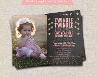 Twinkle Twinkle Little Star First Birthday Invitation, chalkboard, pink, gold, Twinkle Twinkle Little Star First Birthday Party Printables
