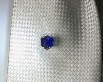 Huge Blue Hexagon Sapphire Tie Tack in Silver.