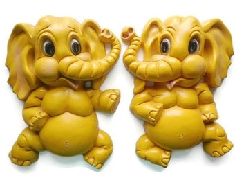 Homco Bright Yellow Elephant Wall Plaque Pair