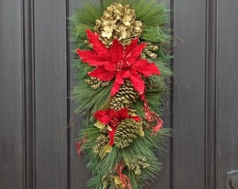 READY TO SHIP Christmas Wreath-Winter Wreath- Holiday Decor-Vertical- Teardrop Wreath-Door Swag Decor-Seasons Greetings-Cabin Wreath-Rustic