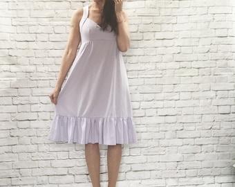 Vintage 70s Lavender Ruffled Halter Dress M Empire Knee Length Sleeveless