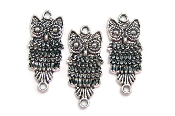 Connectors | Links : 10 Antique Silver Owl Connectors | Silver Owl Links -- Lead, Nickel & Cadmium Free Jewelry Findings H6I