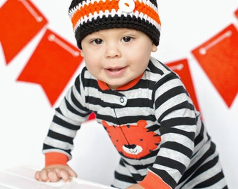 Cincinnati Bengals Football Beanie Hat/Black, Orange and White Beanie Hat (fits baby to adult)