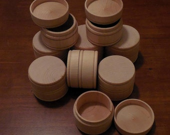 """20 Round MIDDLE Size Wood Boxes w/Lids UNFINISHED 1-5/8 x 2-1/4"""" Pill Gift Ring Jewelry Tole Paint Mini Wooden Box (MT3)"""
