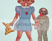 Two Headed Paper Doll and Puppy Dog Friend, Mixed Media Collage Print, A Special Occasion, Weird Colorful Art