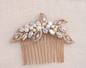 Rose Gold Comb, Bridal Hair comb, Pearl Bridal Comb, Swarovski Wedding headpiece, Bridal hair clip, Linneah Rose Gold Hair Comb