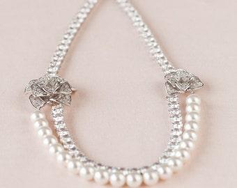 Pearl and Crystal Bridal Necklace, Statement Bridal Jewelry, Swarovski, Wedding Jewellery, Emily Bridal Necklace