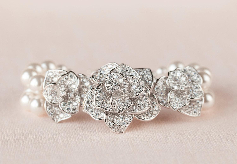 Bridal Flower Bracelet : Crystal bridal bracelet flower wedding swarovski