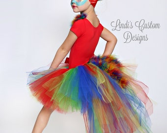 Parrot Tutu Costume for Toddlers, Girls, Teens, Pageants, Birthdays, Halloween Costume, Bustle Tail Tutu, Embroidered Parrot Leotard, Plays