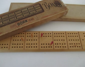 Vintage Wooden Cribbage Boards Horn Company Wood Pegs Vintage Games YourFineHouse SHIPSWORLDWIDE