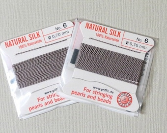 Natural Silk Cord With Needle - 2 packs - Size 6 - Grey